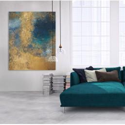 NA ZAMÓWIENIE - Abstrakcja 21 - obraz akrylowy złoto i turkusy