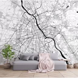 Fototapeta z mapą Warszawy efektownie ozdobi wnętrze mieszkania, biura czy lokalu usługowego.