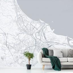 Gdańsk - tapeta na wymiar - plan miasta na ścianie