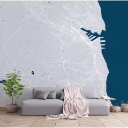 Szaro-turkusowa fototapeta z mapą miasta w salonie. Gdynia, Gdańsk, Trójmiasto