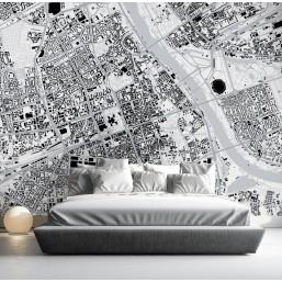 Śródmieście - fototapeta z mapą dzielnicy