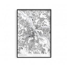 Warszawa - plakat z mapą miasta