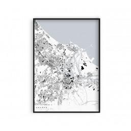 Gdańsk - plakat z mapą miasta